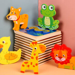 Cute Colourful Wooden Puzzle Baby Kids Toddler Jigsaw Animal DIY Learning Toy UK