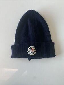 New. Moncler Beanie Hat. 100% Cashmere. Navy Blue.
