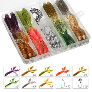 40pcs Soft Shrimp Fishing Lure 75mm Silicone Bait Artificial Fish Soft Worm Hook
