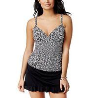 Swim Solutions Womens Diamond Print Shirred Tummy-Control Tankini  Top Size 18