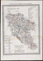 1839 - Landkarte Geografische Antike La Charente-Niederösterreich /