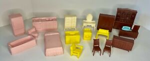 Vintage Lot Plastic Marx Vintage Doll House Furniture Pink Brown Yellow - 18 pcs