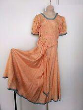 30s VINTAGE FEMININE PEACH PINK FLORAL TAFFETA TEA DRESS w BELT & TRIMS XS