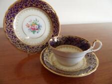 EXCEPTIONAL VINTAGE AYNSLEY CARDIFF DECO COBALT BLUE GOLD & FLORAL TEA
