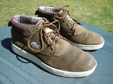 LACOSTE SHOES 8 1/2 USA GREEN & BROWN SUEDE EUR 41 UK 7,5  ALLIGATOR ? MAIS OUI