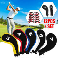 10/12Pcs Golf Neck Iron Putter Head Cover Club Headcover Protective Set Sport