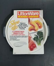 """LittonWare Microwave Ovenware 4 Compartment 9"""" Dinner Plate /w Cover - Old Stock"""