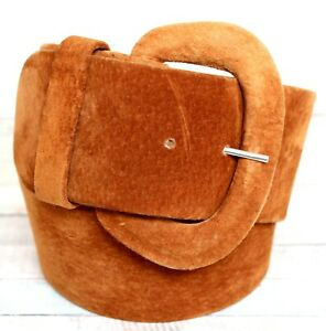 """Accessories by Pearl RUST BROWN SUEDE LEATHER 2.5""""Wd DRESS CORSET BELT Sz S (A79"""