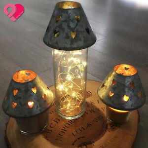 Galvanized Zinc Votive Candle Shade Cover Rustic Farmhouse Silver Heart Mushroom