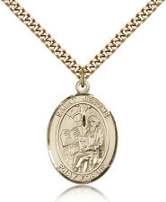 "Saint Jerome Medal For Men - Gold Filled Necklace On 24"" Chain - 30 Day Money..."