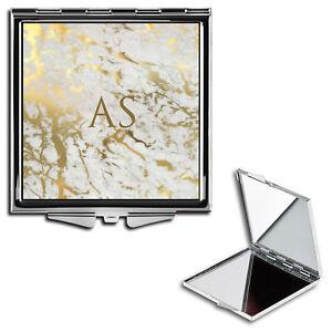 Personalised Name Initials Marble Handbag Travel Make Up Compact Mirror - 34