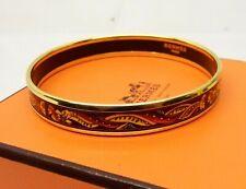 Auth HERMES Paris Gold Plated Enamel Bangle Bracelet Austria Cloisonne Nouveau