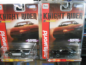 AUTO WORLD XTRACTION AFX TYCO K.I.T.T. VS K.A.R.R SLOTCAR DUO SEE WHO WINS NEW!!