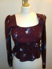 H&M SIZE 8 BURGUNDY/BLUE FLORAL LONG PUFF SLEEVED PEASANT TOP. SQUARE NECK.VGC