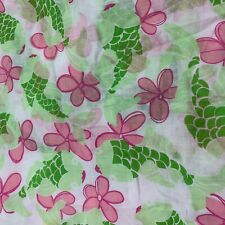 New Vintage Lilly Pulitzer Pink Green Semi Sheer Koi Fish Dressmaking Fabric Bty