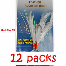 12packs Size 5/0 Fishing Rockfish Rigs 2 Hooks Feather Rock Fish Baits White NEW