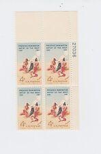 block of 4 FREDRIC REMINGTON stamps *FREE SHIPPING* Scott #1187 MNH US 1961 OG