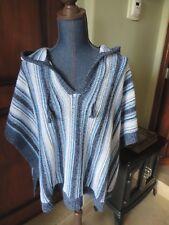 Women's Eddie Bauer Blue & White Striped Hoodie Poncho Sweater SZ XS/S NWT