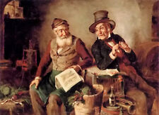 Oil painting hermann kern - discussing the news two old men together on canvas @