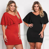 Sexy Women Cocktail Mini Dress Plus Size Ruffle Bodycon Skirt Large Evening