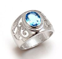14K Solid White Gold Natural Gem Stone Blue Topaz Men's Ring Us Size 8 9
