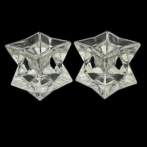 VTG Set Of 2 Michael C Fina Fifth Avenue 24% Lead Crystal Star Candle Holders