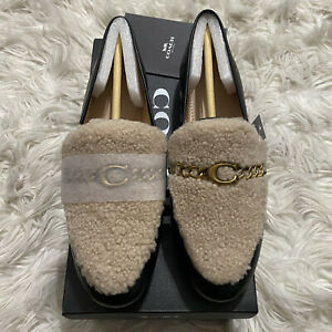 Coach Helena Leather Chain Shearling Loafers Black Size 7