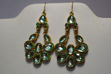 With Multiple Green Stones, Dangle Gold Tone Earrings