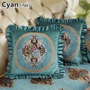 Floral Jacquard Cushion Case Velvet Sofa Pillowcase Ruffle Only Cover Blue Retro