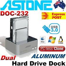"Astone DOC-232 Aluminum USB3.0 Dual Hard Drive Clone Dock 2.5""/3.5"" SATA Win MAC"
