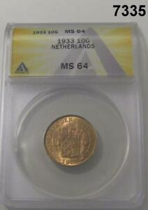 1933 NETHERLANDS 10 GULDEN GOLD ANACS CERTIFIED MS64 FLASHY! #7335