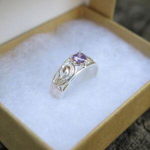 Hawaiian Sterling Silver Scrolling Hawaii Heart Purple CZ Toe Ring TR1144
