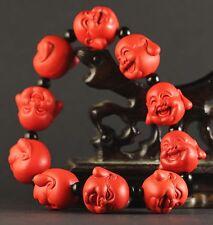 China old natural red jade cinnabar bangle Chinese jade buhhda beads Bracelet