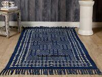 Handmade Indian Hand Block Print Rag Rug 100% Cotton Large Woven Floor Mat 3X5ft