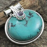 925 Sterling Silver Tibetan Turquoise Gemstone Pendant Jewelry
