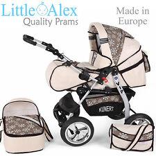 Cream 3in1 Baby Pram Stroller Pushchair Car Seat Carrycot Travel System Buggy