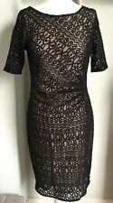 M&S Black Lace Overlay Bodycon Stretch Dress Sz 12 3/4 Slvs Gathered Party Races