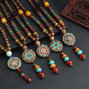 Handmade Nepal Buddhist Mala Bead Pendant Necklace Sweater Chain Ethnic Gifts