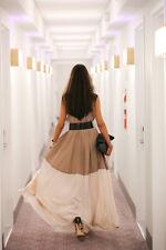 $448 BCBG Adelaide Khaki Combo Black Beige Cream Pleated Dress Small S 4 6 8 M