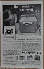 1962 MAGNAVOX advertisement, portable record player and transistor radios