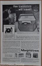 1962 MAGNAVOX advertisement, portable record player and transistor radios