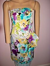 ALYN PAIGE Blue Green Purple Floral Strapless Dress Side Drape Skirt-Size 5/6