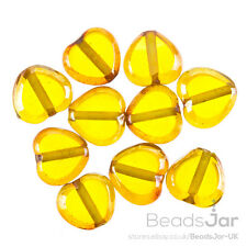 Lustred Heart Yellow Glass Charm Pendant/Beads 12mm Pack of 10 (A91/11)