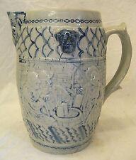 Old Antique WHITES UTICA SALT GLAZE BEER PITCHER Stoneware Cobalt Blue EMBOSSED