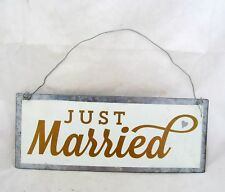 Groom Bride Metal Just Married Rustic Wedding Party Gift Sign Wall Decor Hanging