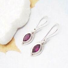 Granat rot red Bohemian Design Ohrringe Hänger Ohrhänger 925 Sterling Silber neu