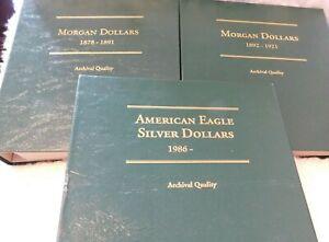 LOT OF 3 LITTLETON COIN ALBUMS, MORGAN (2) & Silver Eagles (NO COINS)