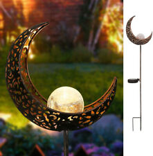 Solar Garden Stake Lights Crackle Glass Globe Antique Moon Lamp for Lawn Patio