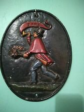 Vintage Cast Iron Fire Sign Plaque, Wilton with Man Carrying Torch, Horn Banner