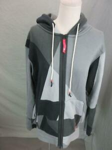 Nike Size S Mens Gray/Black Athletic Cotton w/Pockets Full Zip Hoodie T088